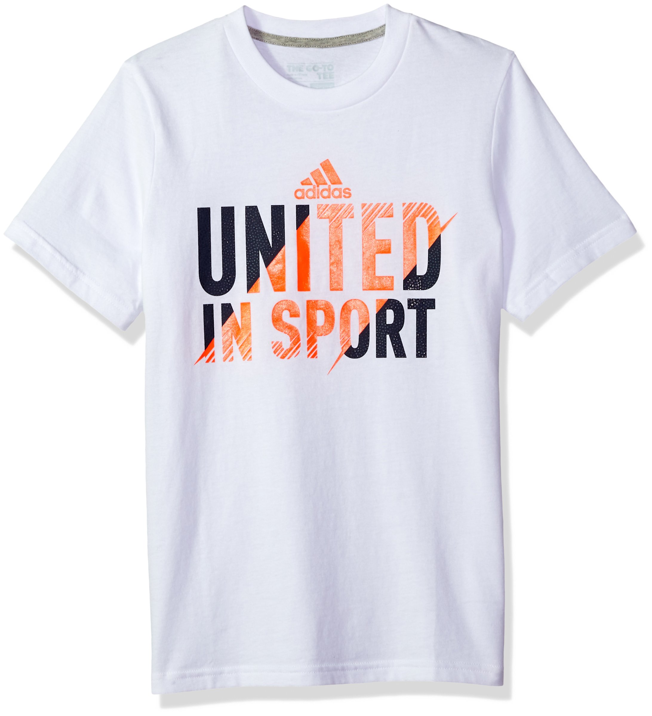 adidas Boys' Big Short Sleeve Graphic Tee Shirts, White, Small