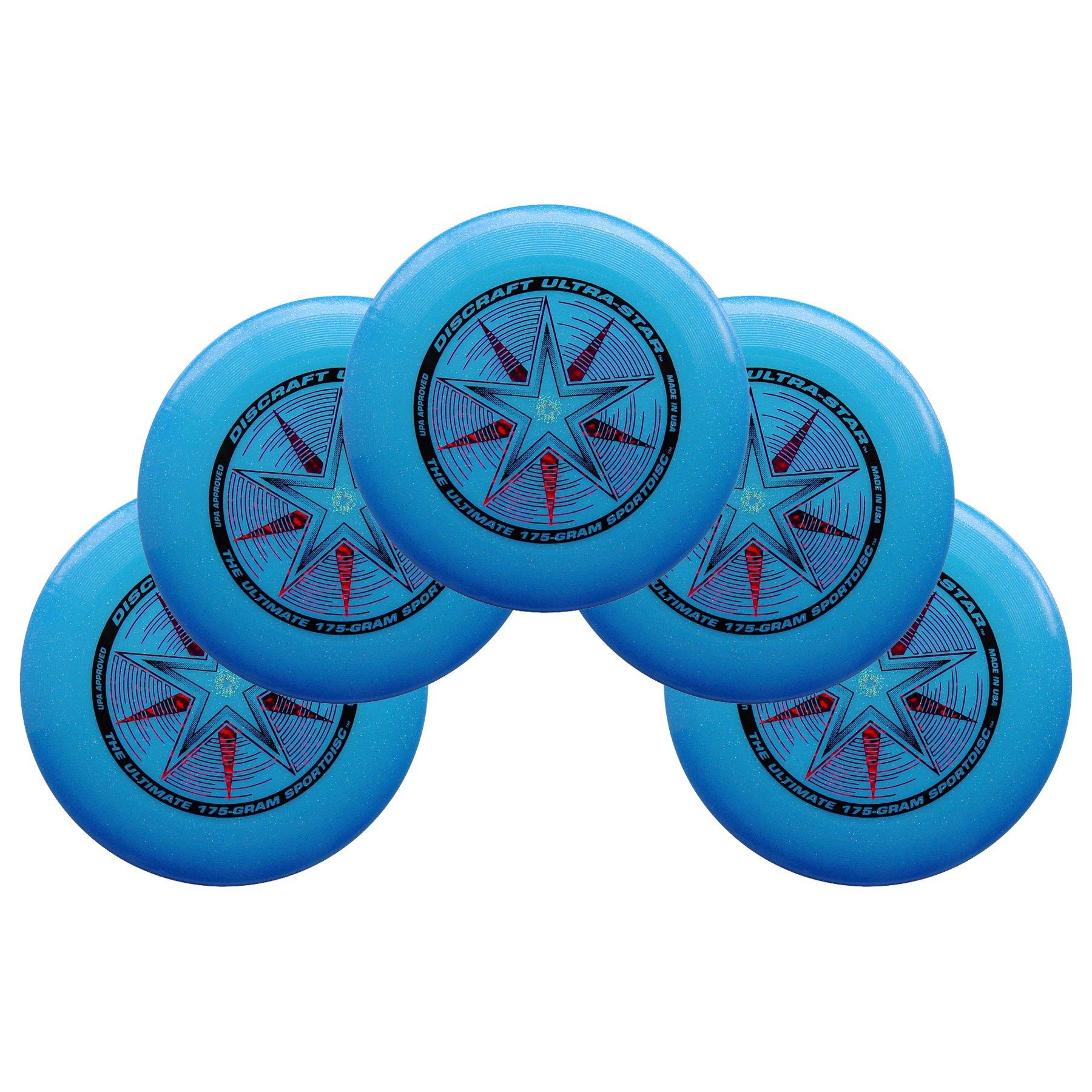 Discraft Ultra-Star 175g Ultimate Sportdisc Blue Sparkle (5 Pack) by Discraft