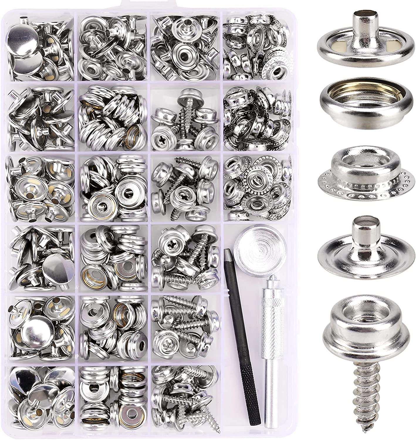 323 Piece Canvas Snap Kit, Meifuly Marine Grade Stainless Steel (Caps, Sockets, Screws, Fabric Base Components) for DIY Cover, Canvas Snap Kit with Material Hole Punch and Setting Tools