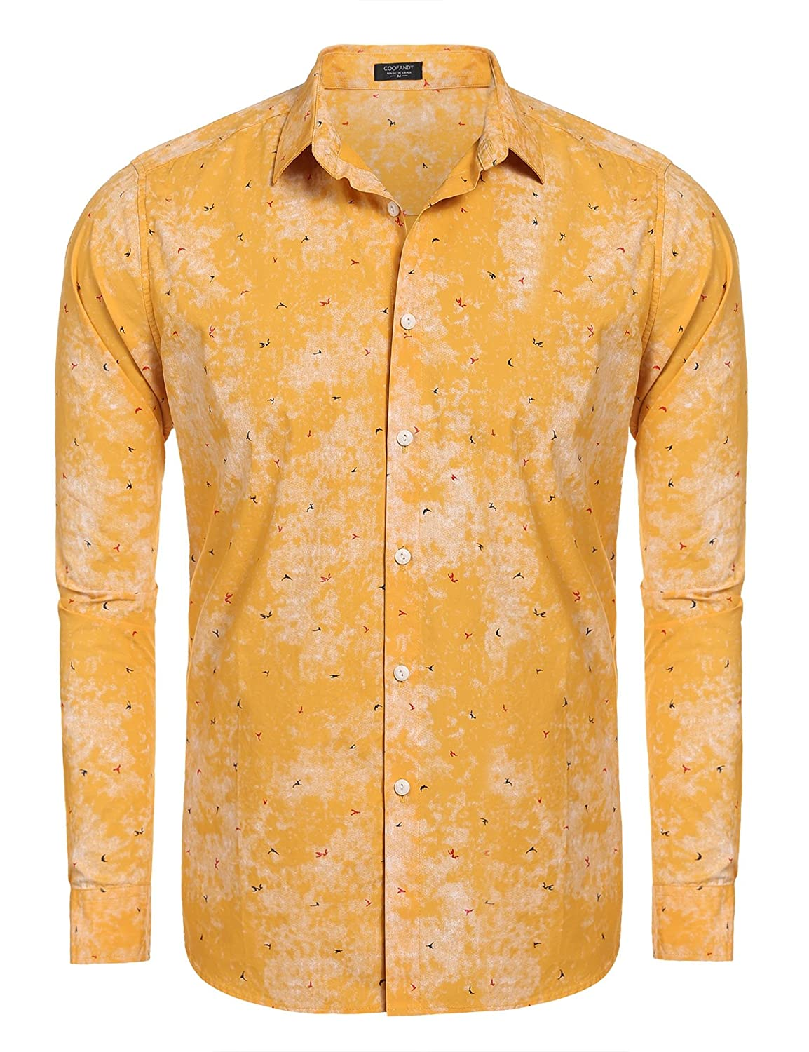 Men's Vintage Style Shirts Coofandy Mens Fashion Print Casual Long Sleeve Button Down Shirt $25.12 AT vintagedancer.com