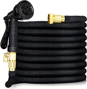PROXRACER Expandable Hose Flexible & 8 Function Nozzle,Garden Hose 50 FT Light Weight No-Kink Flexibility Solid Brass Fittings & Triple Latex Core Rot, Crack, Leak Resistant