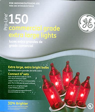 Amazon ge pro line 150 ct red color commercial grade extra ge pro line 150 ct red color commercial grade extra large string light set ge80324 mozeypictures Gallery