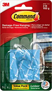 Command Outdoor Medium Window Hooks, Clear, Water-Resistant Adhesive, 5 Hooks, 6 Strips (17091CLRAWVPES)