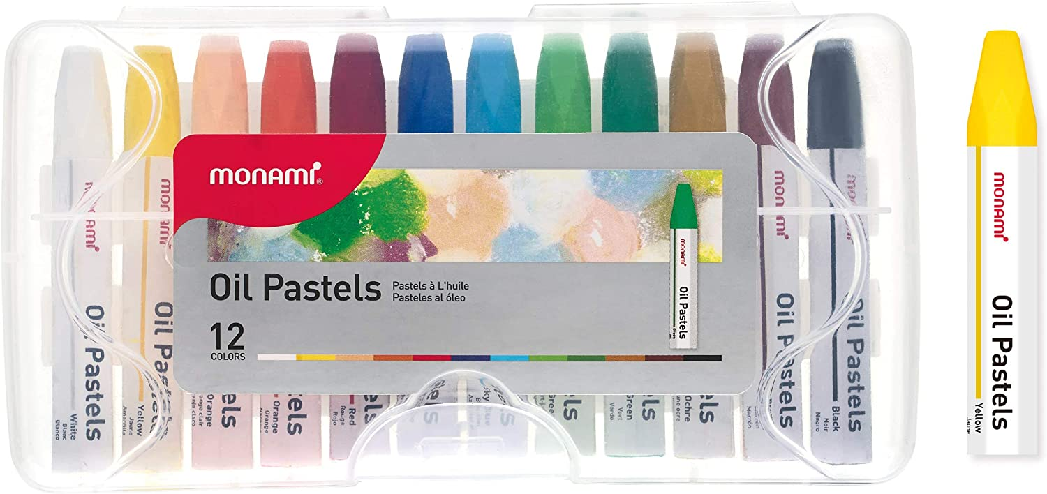 MONAMI Oil Pastels, Jumbo Size Hexagonal Shape Oil Pastels for Kids and Students with Handy Carrying Case, 12 Vivid Colors Pack