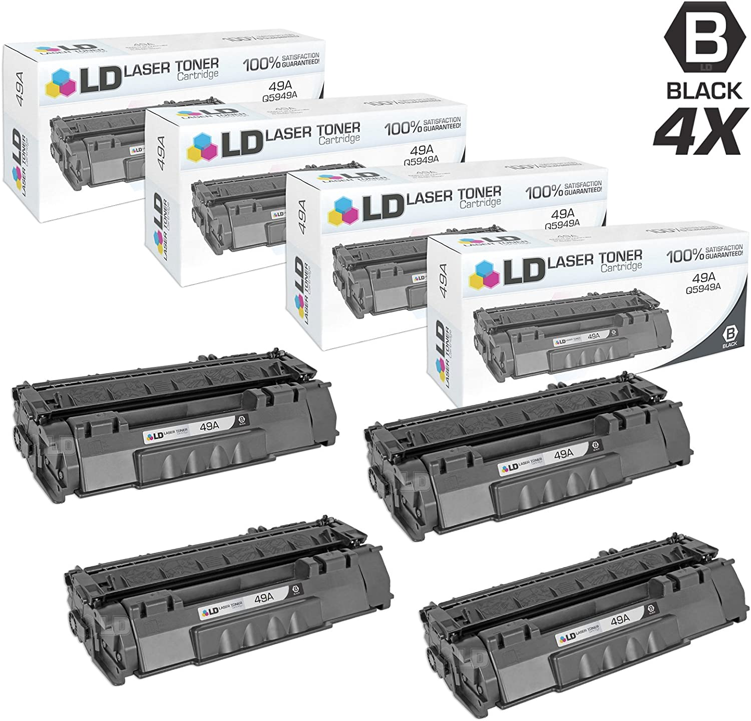 LD Compatible Toner Cartridge Replacement for HP 49A Q5949A (Black, 4-Pack)