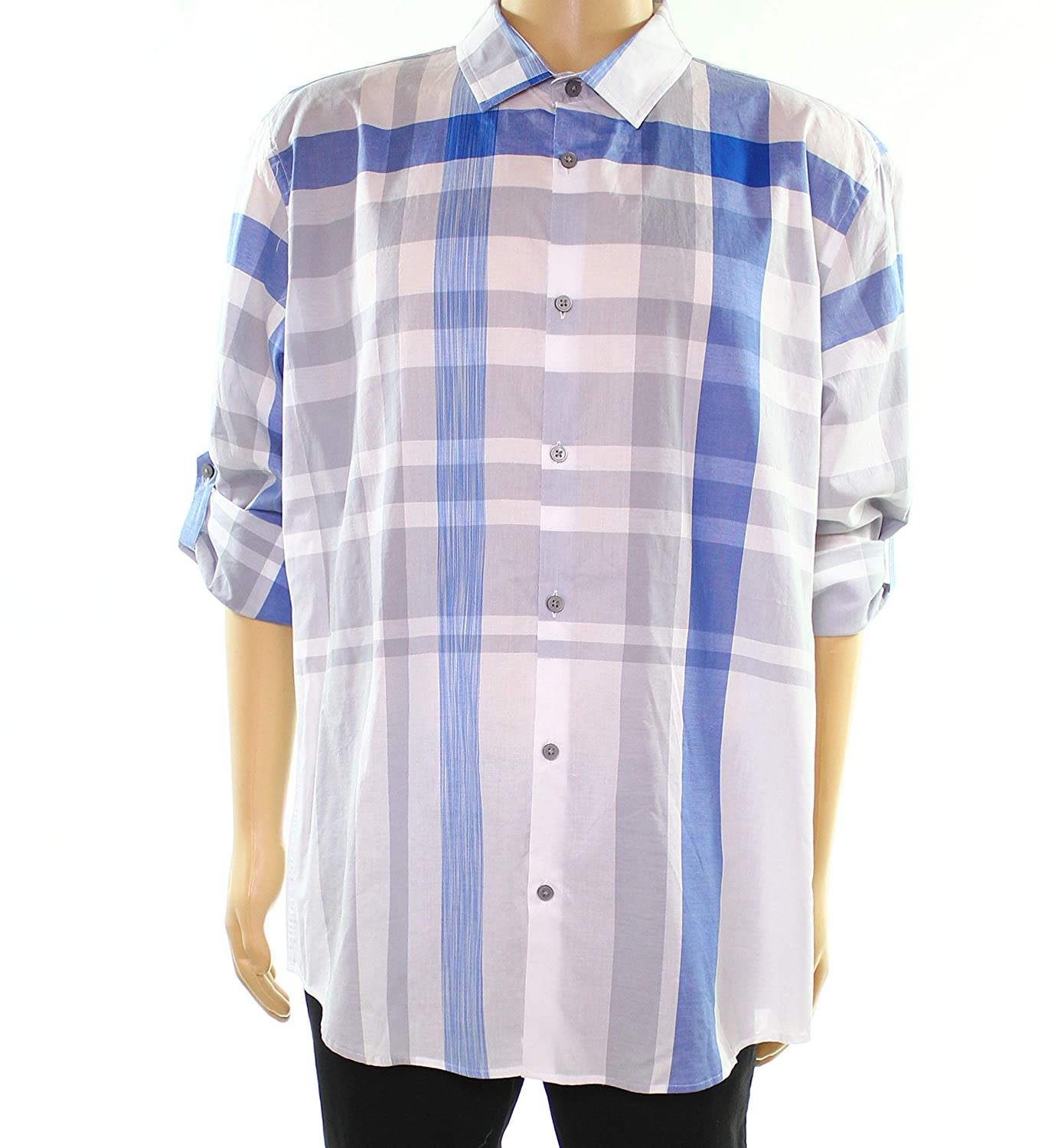 Alfani Mens Roll Tab Sleeve Plaid Button Shirt