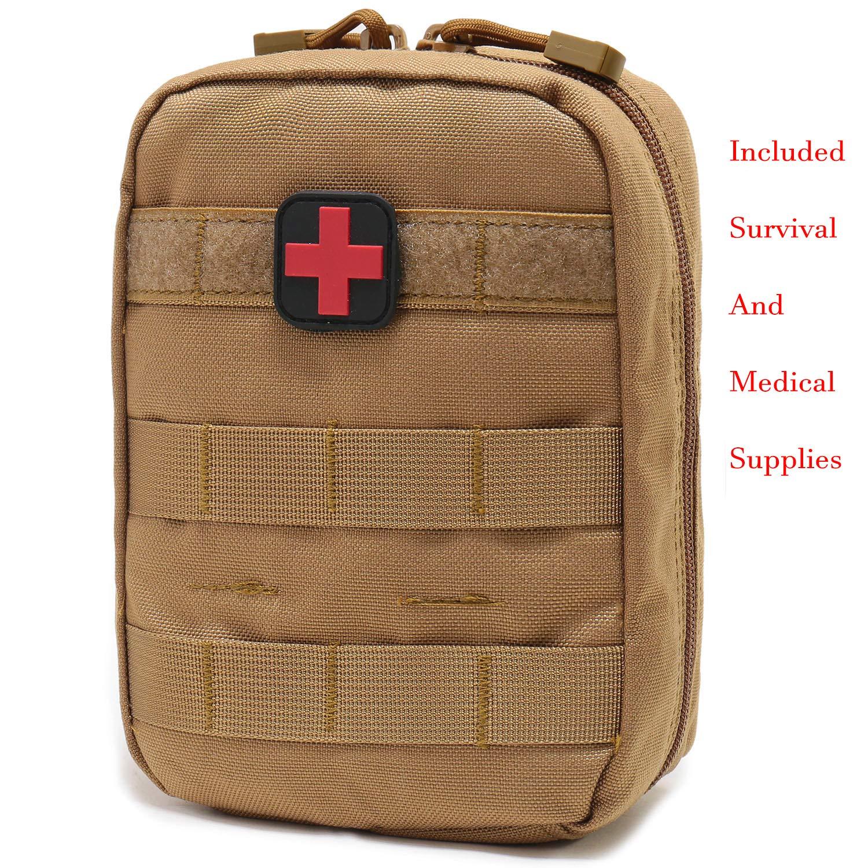 Carlebben Survival First Aid Kit EMT Pouch MOLLE Ifak Pouch Tactical MOLLE Medical First Aid Kit Utility Pouch (Survival Medical Supplies TAN)