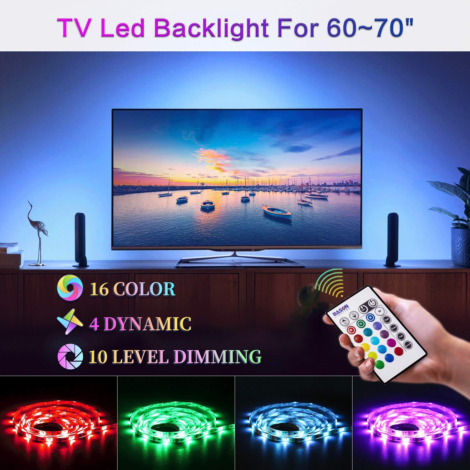 Bason Led Strip Lights for 60-70'' HDTV/Wall Mount TV, USB TV Led Backlight with Remote Control, 13.09ft Led Strips TV Bias Lighting for Entertainment Center Room Decorations Home Movie Theater.