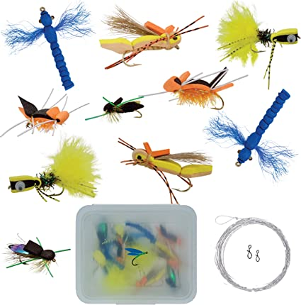 12 fly fishing foam spiders assortment # 10 hooks flies poppers panfish trout