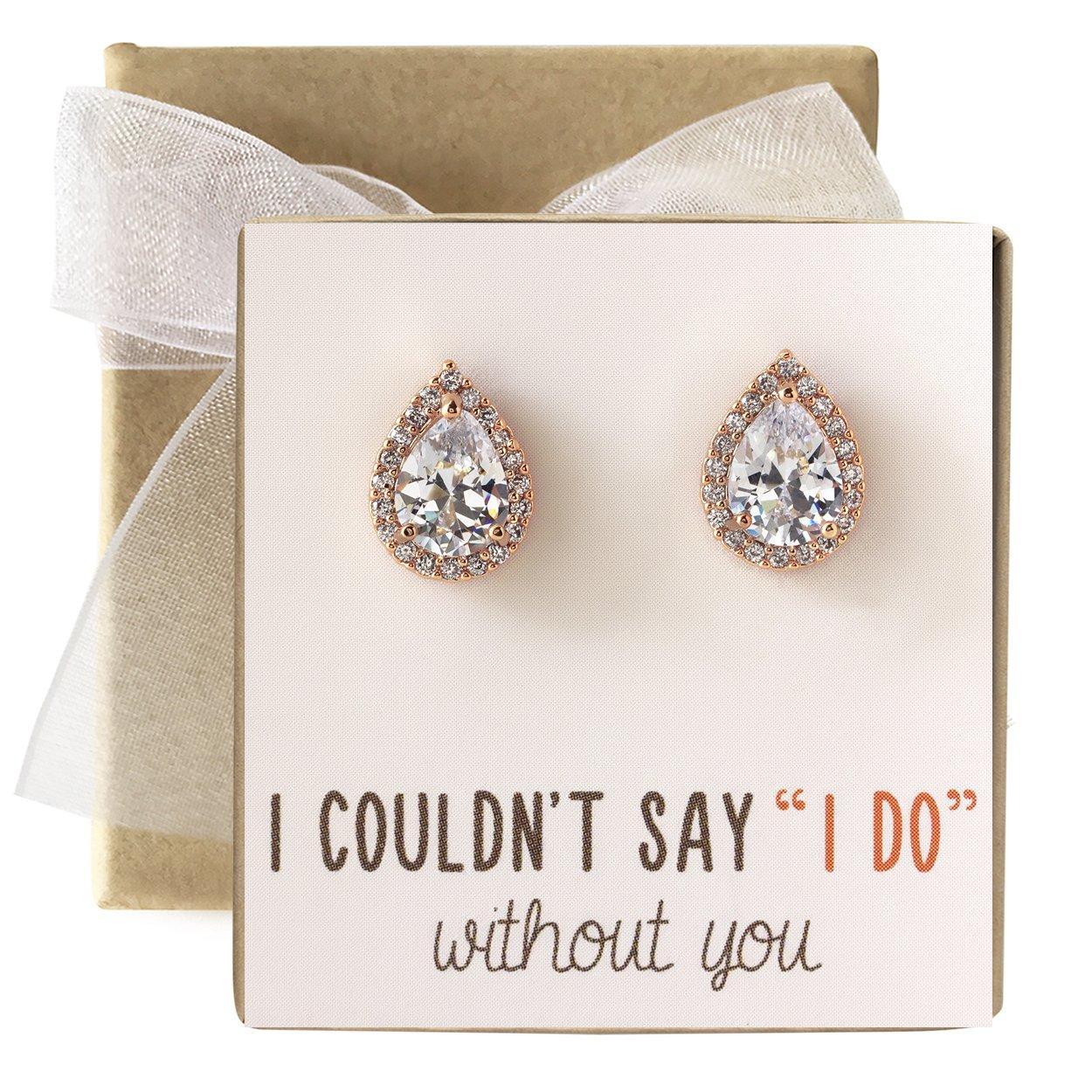 Cubic Zirconia Bridesmaid Stud Earrings, Bridal Party Gift (Rose Gold, Post Earrings)