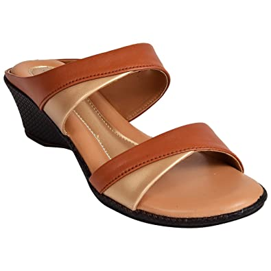 fbeb4f0fe Ajanta Women s Tan Synthetic Sandal  Buy Online at Low Prices in ...