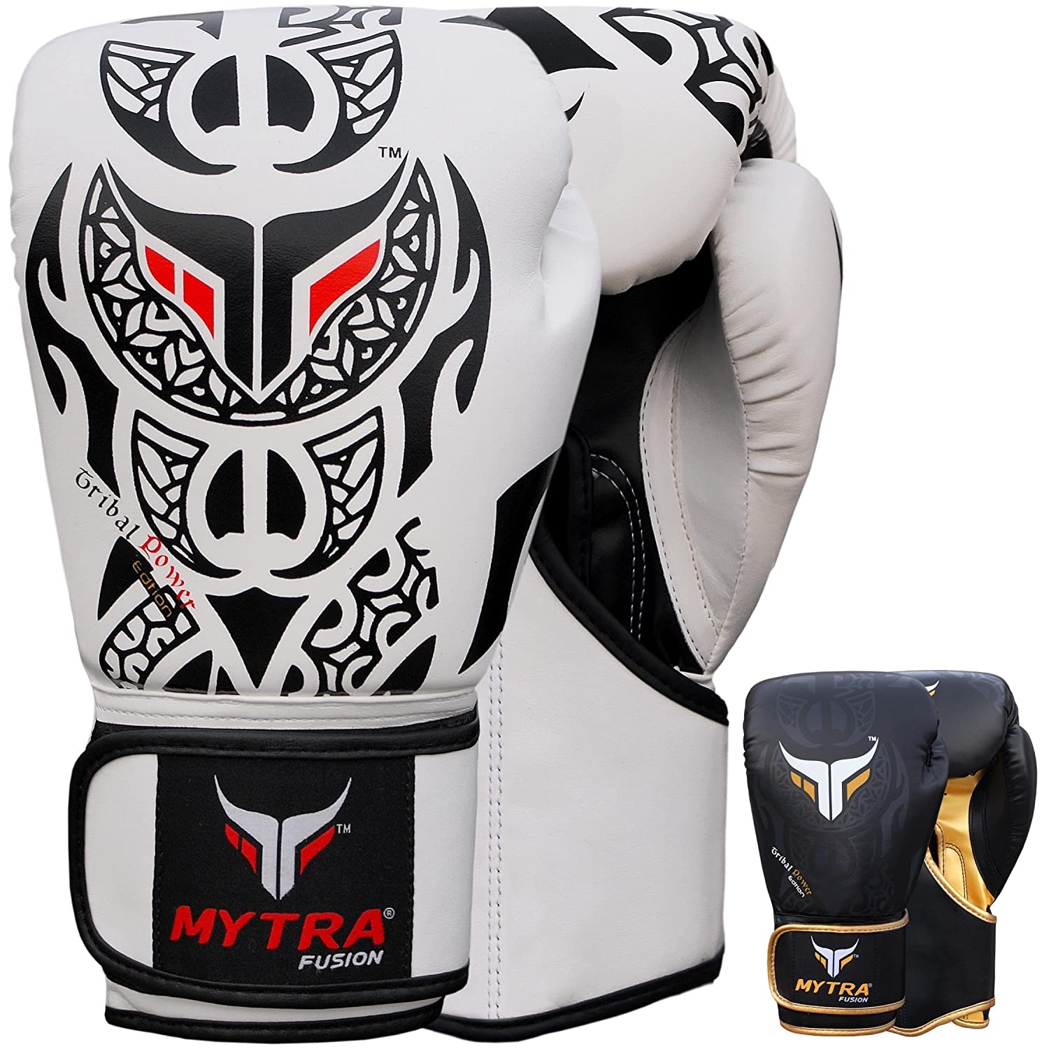 Mytra Fusion TribalボクシンググローブRealレザーボクシンググローブ10oz 12oz 14オンス16オンスのボクシンググローブTraining Punching Sparring Punching Bagボクシングバッグ手袋パンチバッグ ホワイトブラック 16-oz