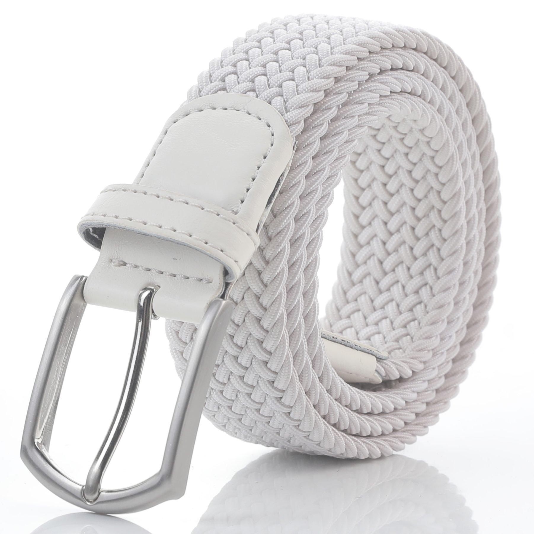 Weifert Men's Stretch Woven 1.3''Wide Elastic Braided Belts (34-37, White)