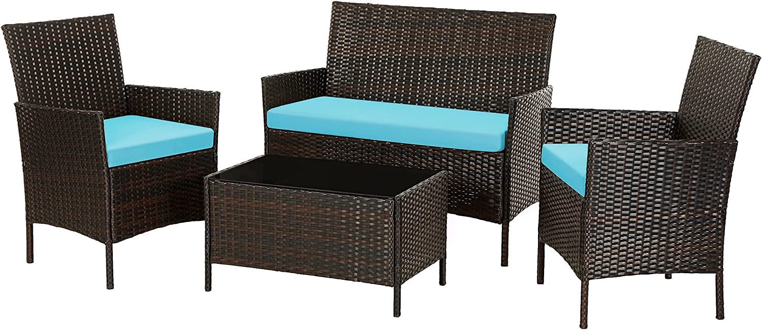 SONGMICS Patio Furniture Set, PE Wicker Outdoor Furniture, for Porch Deck Backyard Outside Use