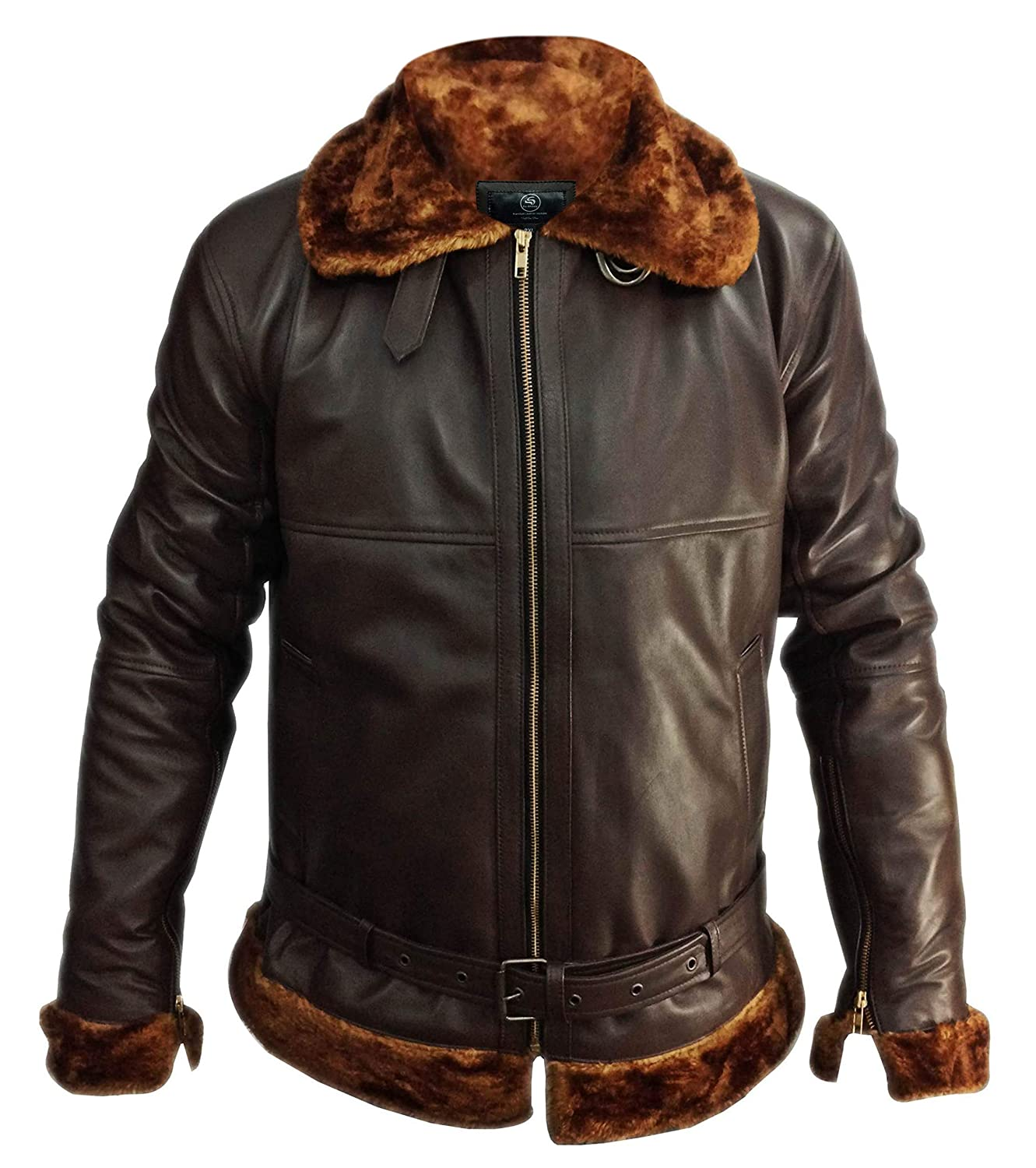 So Shway Mens Bomber Shearling Flying Leather Jacket Men Brown Raf