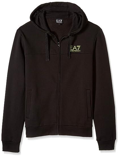 timeless design 79f38 b5716 Felpa con Cappuccio e Zip Uomo EA7 nera: Amazon.co.uk: Clothing