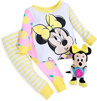 Disney Minnie Mouse PJ PALS and Plush Rattle Set for Baby Size 3-6 MO Multi