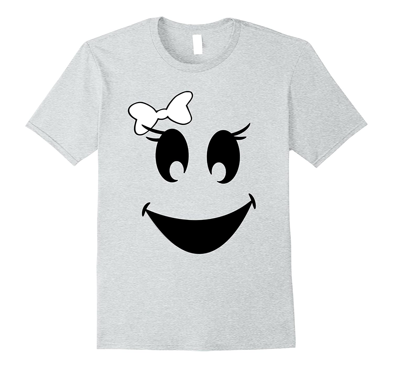 Halloween Girl Ghost Face With Bow T Shirt-T-Shirt