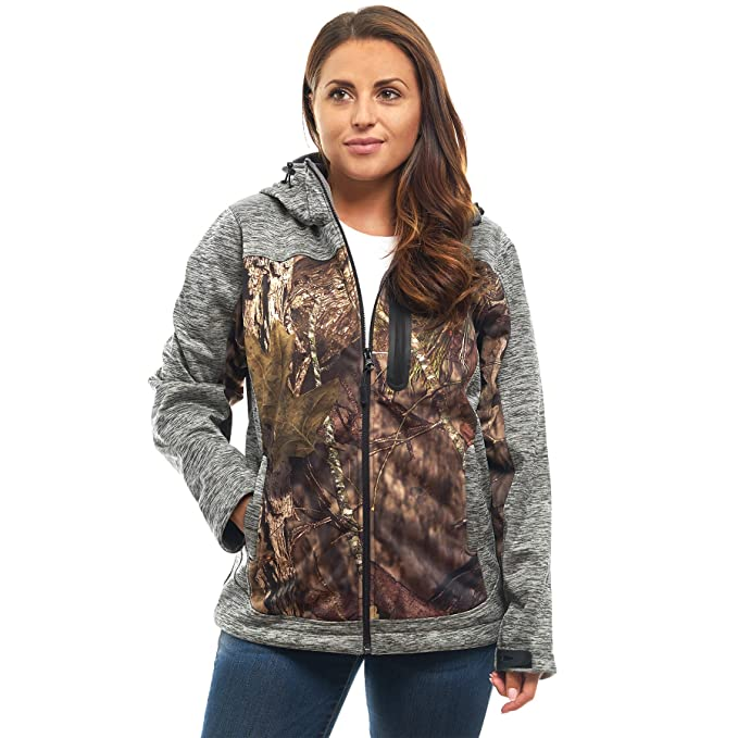 TrailCrest Women s Military Softshell Jacket Mossy Oak Camo Patterns (Grey  Heather - X-Small f138f78b10