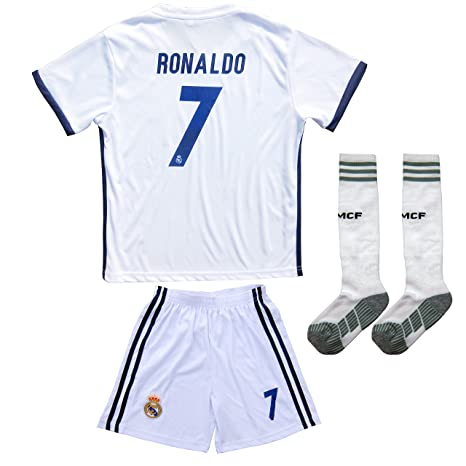 2016 2017 REAL MADRID  7 RONALDO KIDS HOME SOCCER JERSEY   SHORTS YOUTH  SIZES f386b35b4