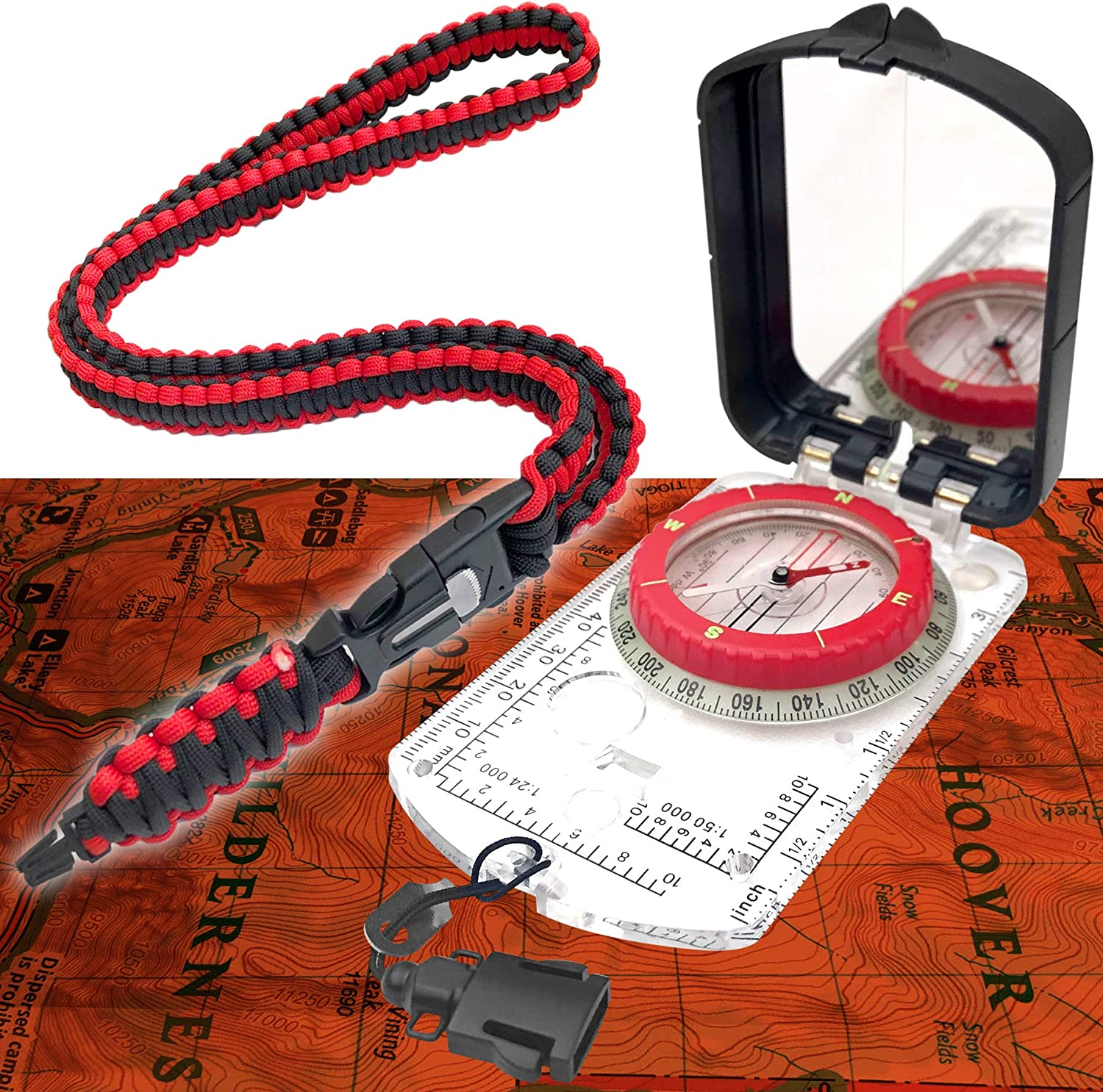 Handheld Orienteering Baseplate Compass for Hiking Backpacking Sun Company Sighting Map Compass with Adjustable Declination and Survival Navigation