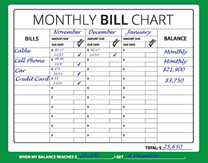 bill organizer printable spreadsheet fresh chart printable monthly