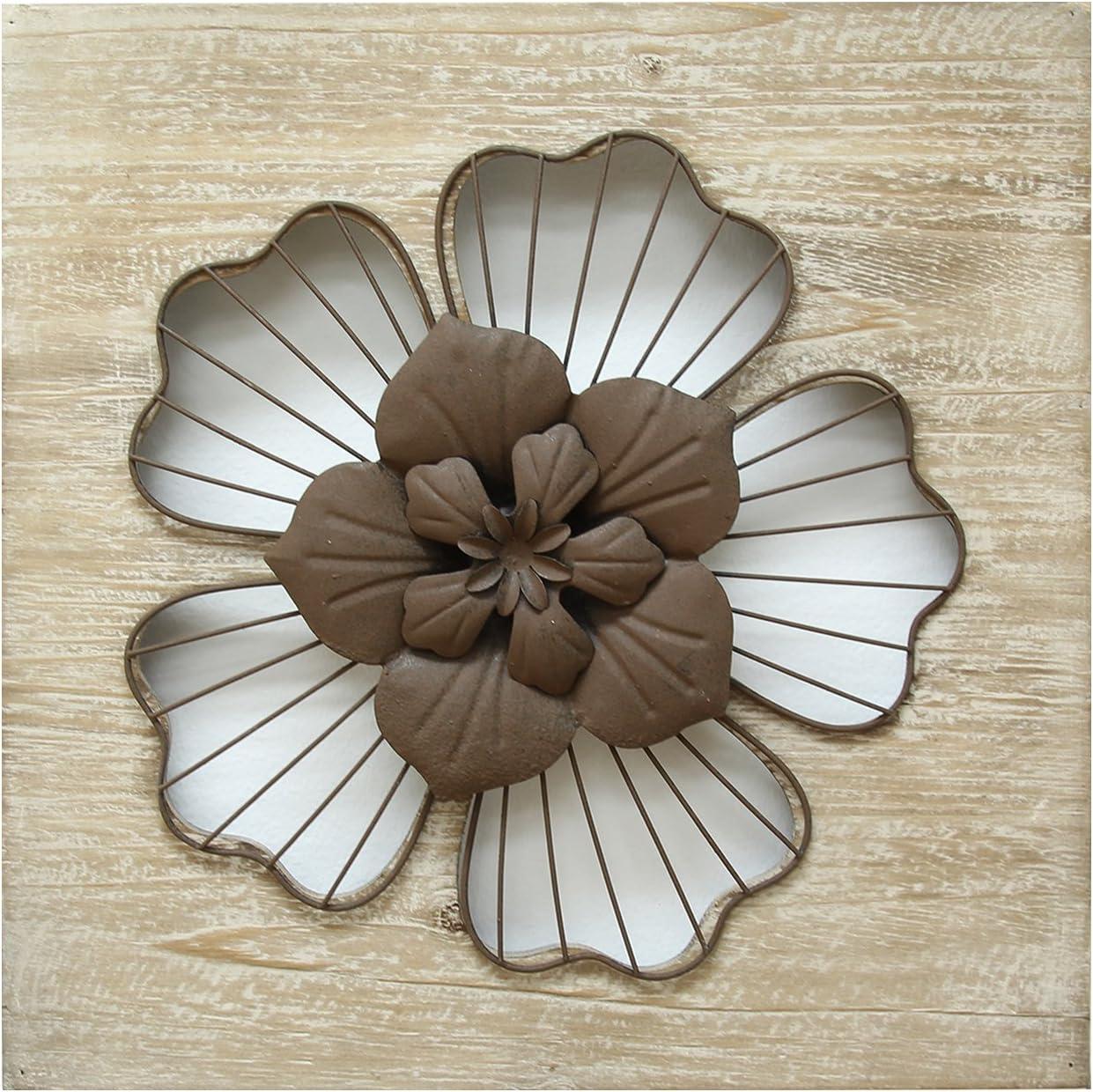 Stratton Home Decor SHD0168 Flower Wall Decor, Rustic, 14.00 W X 1.50 D X 14.00 H, Natural Wood Espresso