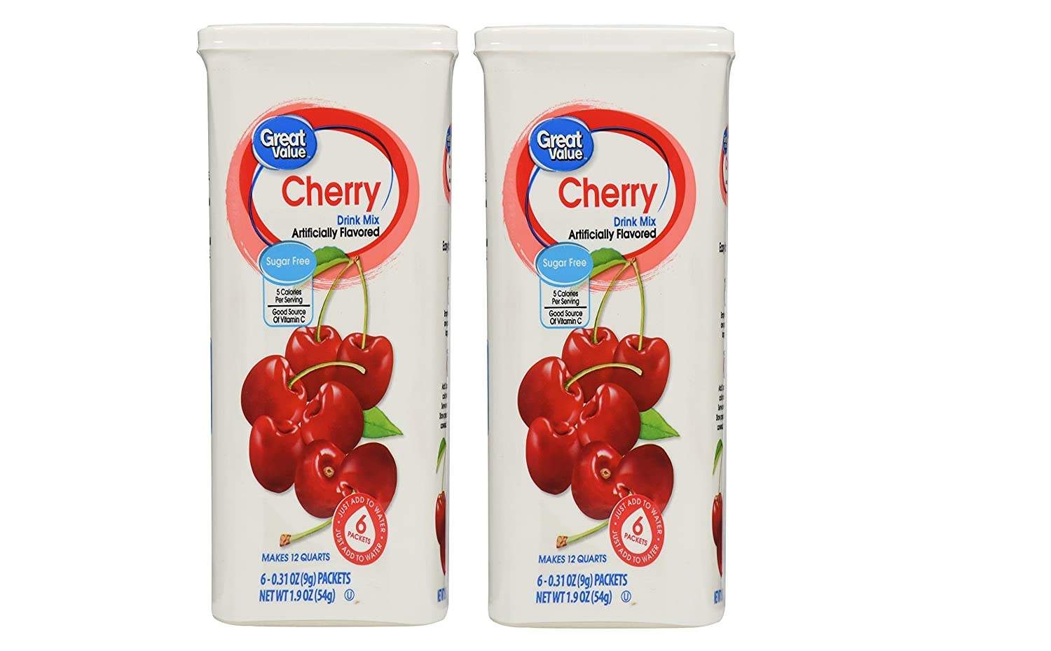 Great Value Cherry Drink Mix, 1.9 Oz- 6 Packets (Pack of 2)