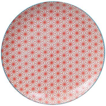 Tokyo Design Studio Starwave Dinner Plate - Star - Red/Light Blue at Amara