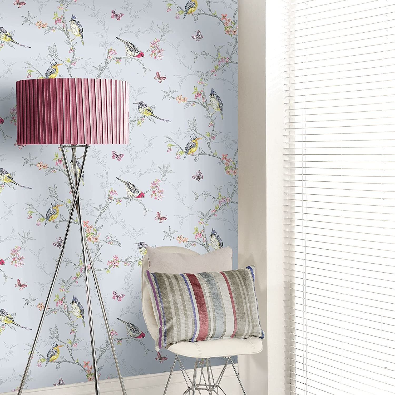 Blue Phoebe Birds Wallpaper World Of Wallpaper 50140 Amazon Co Uk Diy Tools