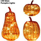 KI Store Glass Pumpkin with Lights and Timer Set of 3 Large LED Lighted Mercury Glass Pumpkins Lantern with Acrylic Stem…