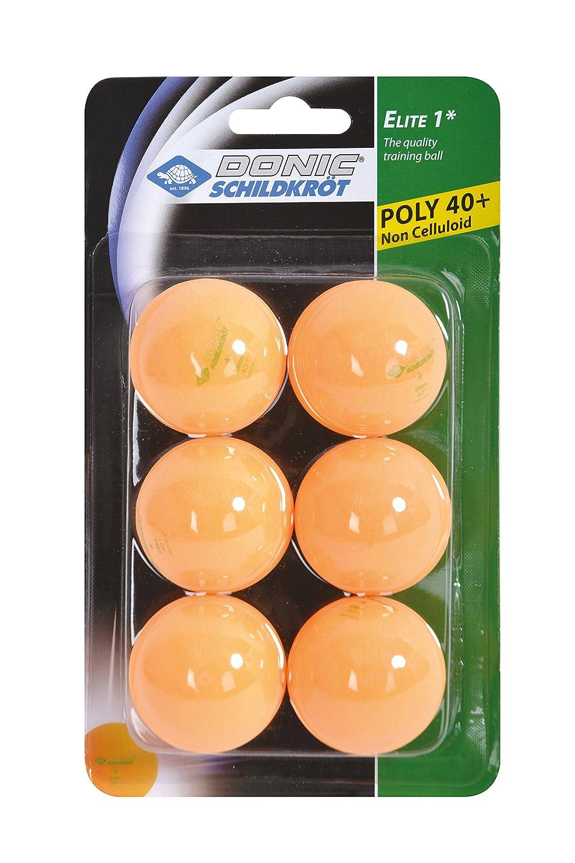 Donic-Schildkröt Tischtennisball 1-Stern Elite, Poly 40+ Qualität, 6 Stk. im Blister, Orange, 608518 Poly 40+ Qualität