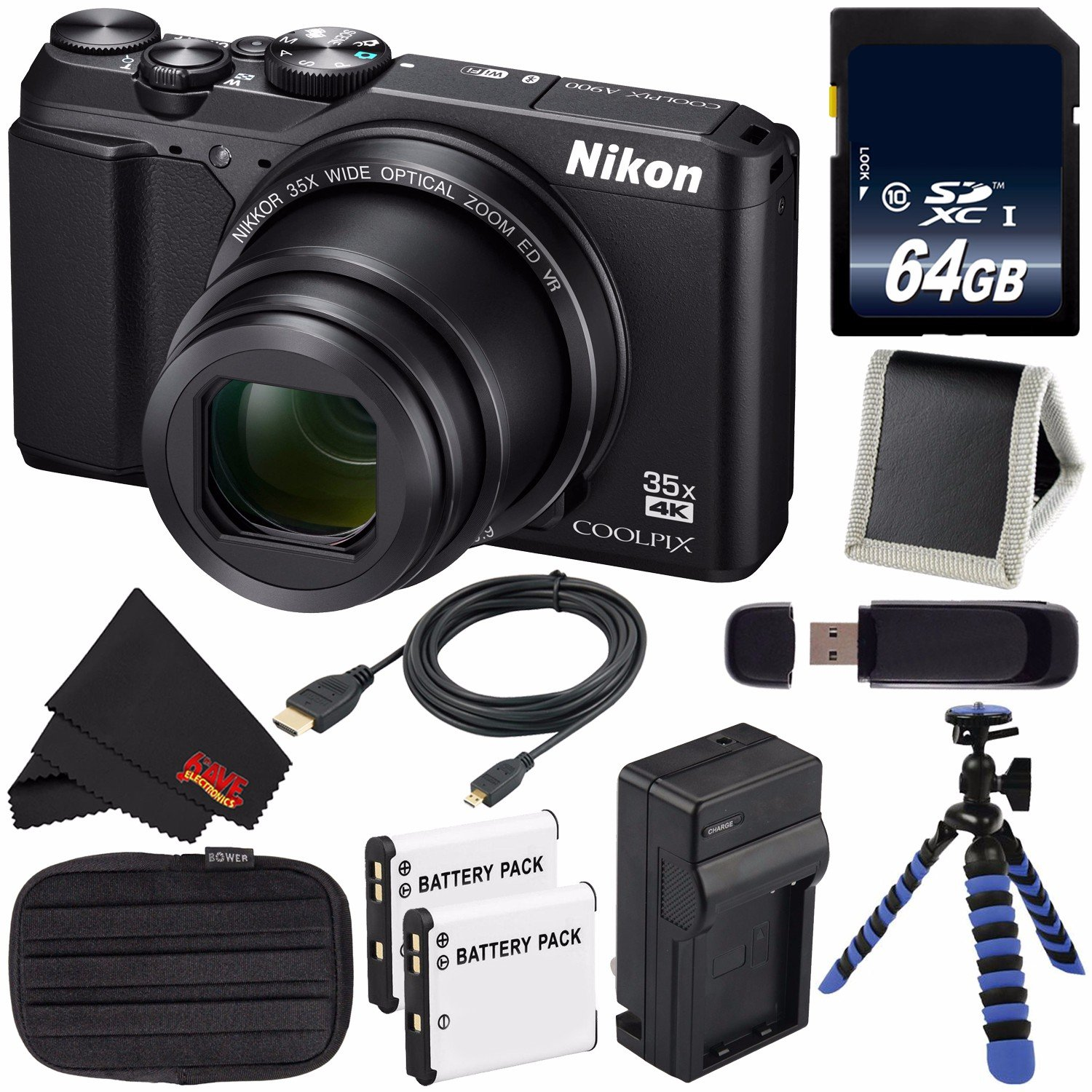 Nikon COOLPIX A900 Digital Camera (Black) 26501 International Model + EN-EL12 Replacement Lithium Ion Battery + External Rapid Charger + 64GB SDXC Class 10 ...