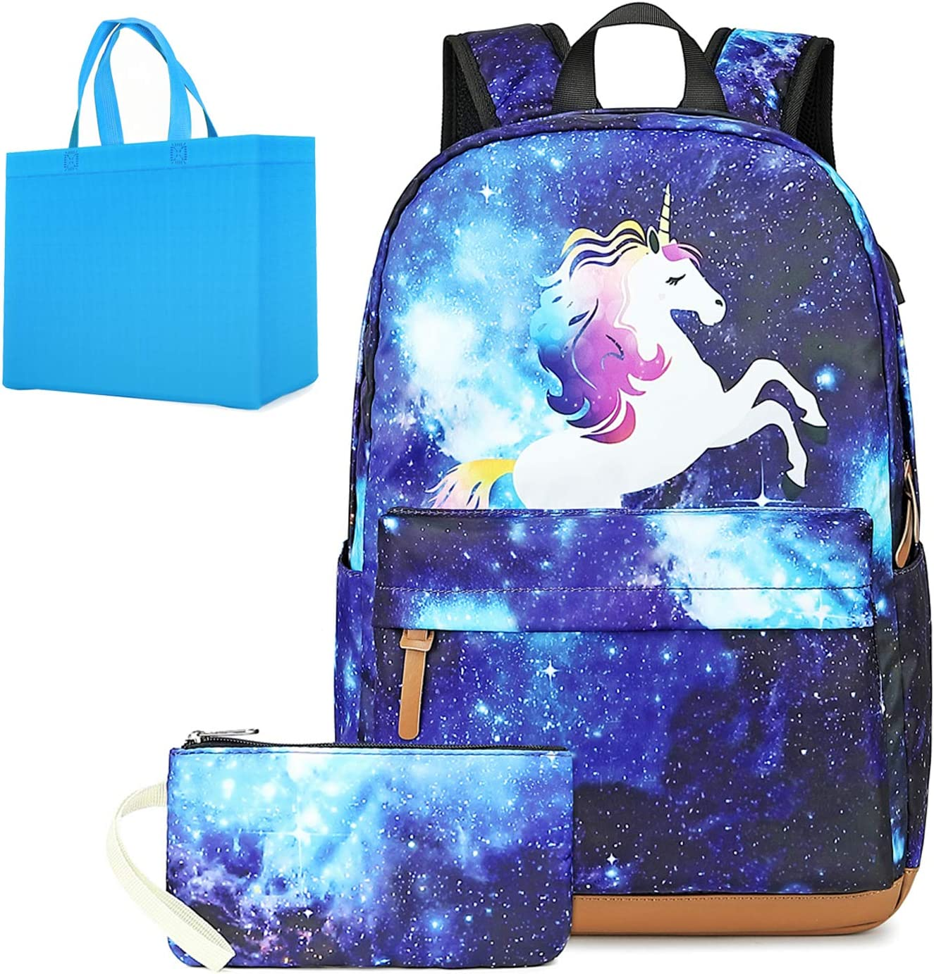 Unicorn Backpack for Girls Galaxy School Backpack with USB Charging Port Elementary School Bookbag with Pencil Bag 2 in 1 Schoolbag Sets for Girls