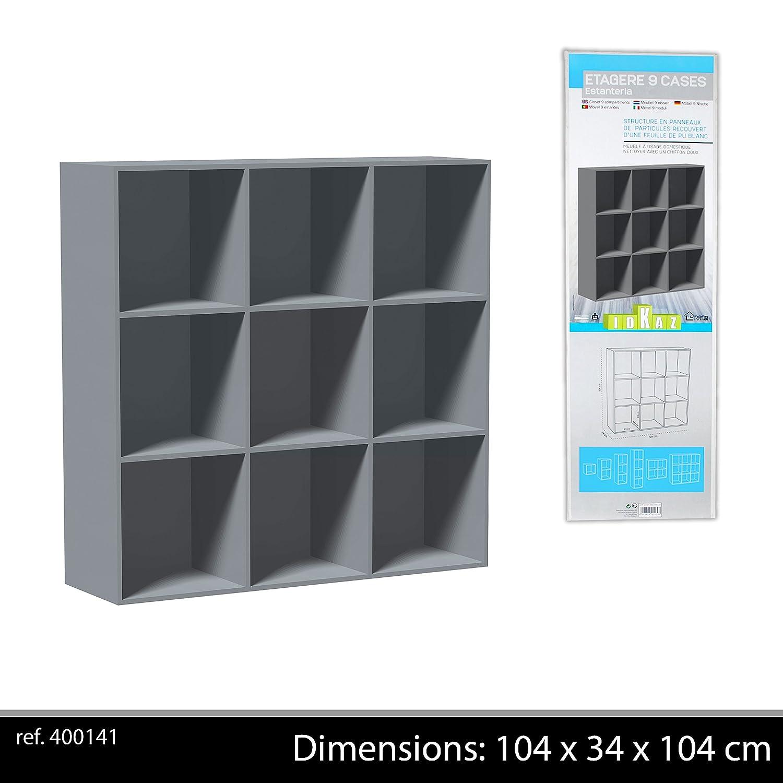 Meuble de Rangement 9 Niches Gris 104x34x104 cm