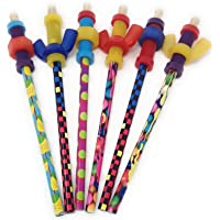 Fidget Pencil Toppers on Pencil, Set of 6 (3 Wing Nuts and 3 Nuts'n Bolts), Colors Vary