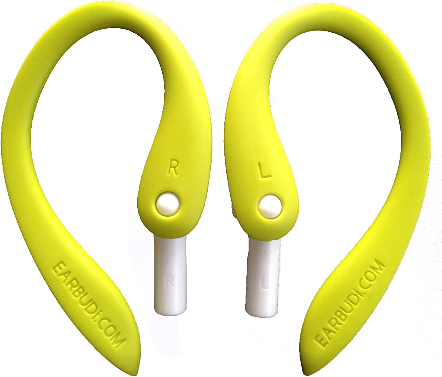 EARBUDi Ear Hooks Compatible with Apple EarPods | Adjustable Rubber Ear Loops Keep Apple EarPods in Place During Activity | Made for Wired EarPods That Come Free with Every iPhone | Neon Green