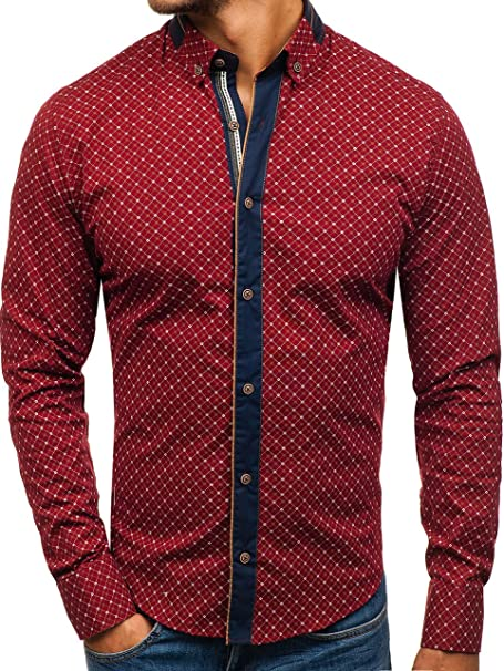 6bac3719e BOLF Hombre Camisa Elegante Abotonada 8811 Rojo Burdeos XL  2B2    Amazon.es  Ropa y accesorios