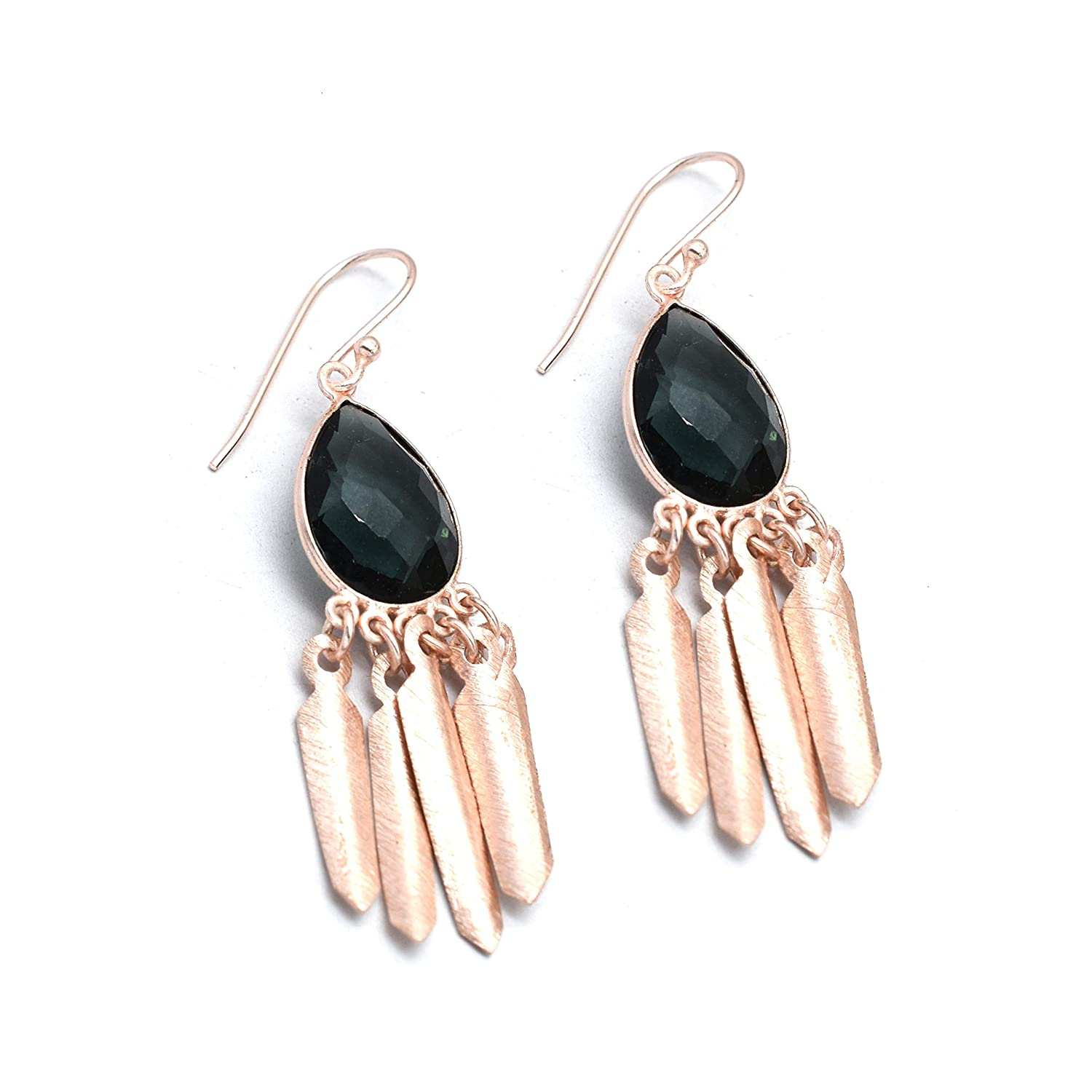 The V Collection earrings rose gold plated faceted london bt pear shape dangling earrings gifts for her