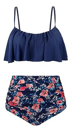 6d6a12df2f Amazon.com  UniSweet Womens Bikini Set Flounce Chic Two Piece Swimwear  (Womens Size)  Clothing