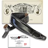 "Walker & Williams Super Wide 4"" Double Padded Top Grain Black Leather Bass Strap"
