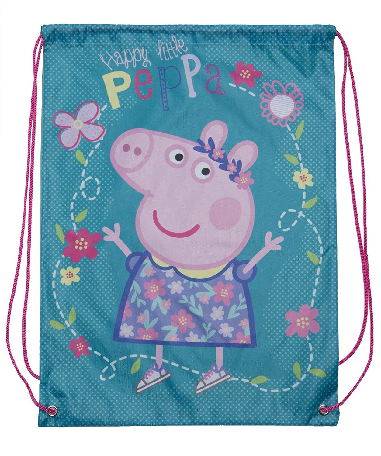 Peppa Pig Drawstring Bag 2 Bags Pack Children Travel Gym Backpack Kids Gift Sack