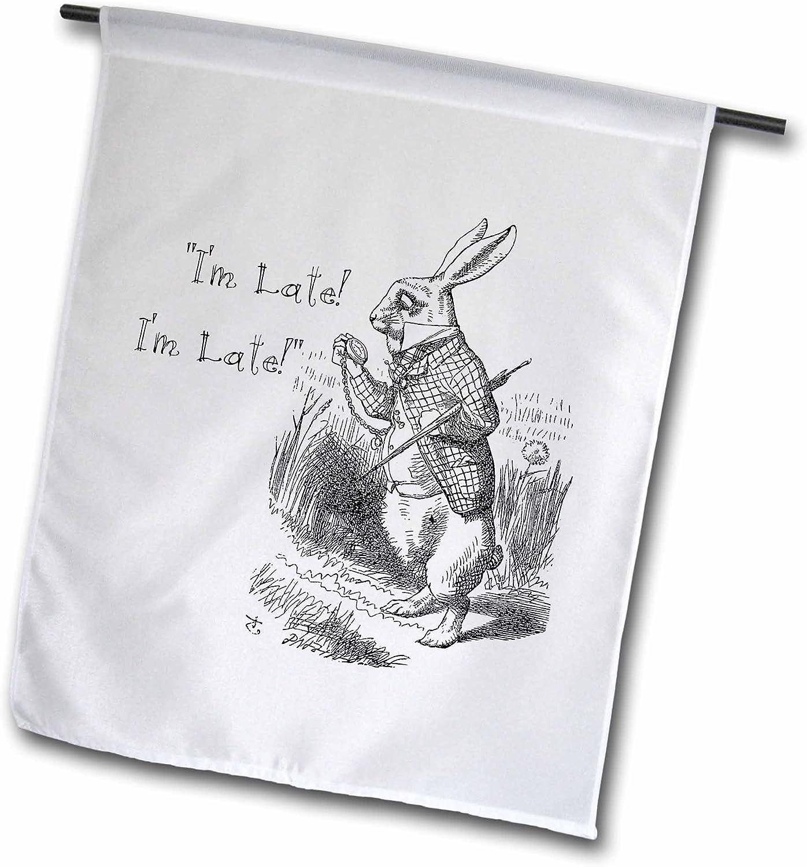 """3dRose Alice in Wonderland White Rabbit.Im Late- John Tenniel Illustration - Garden Flag, 12 by 18"""""""