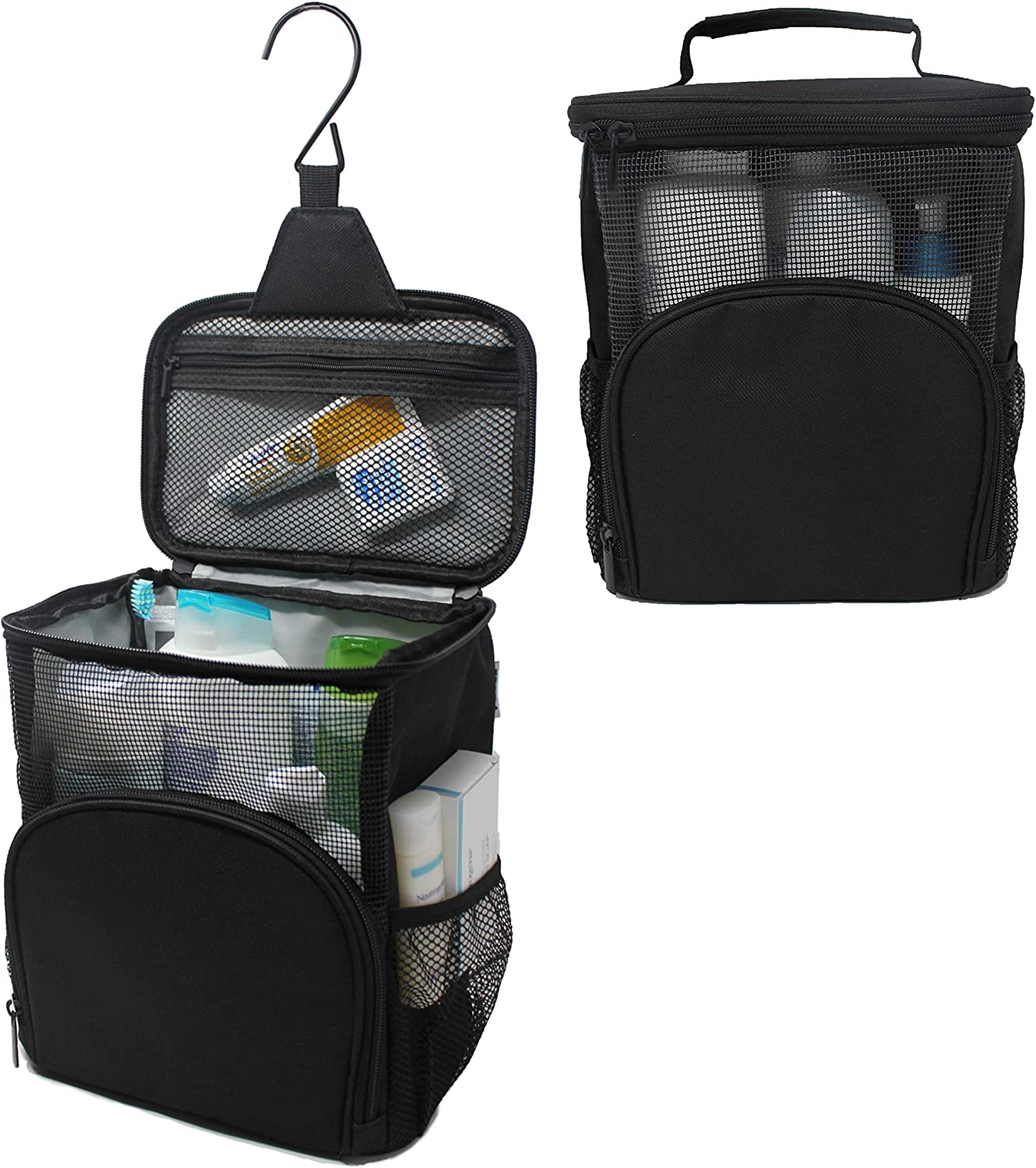 TERRA HOME Portable Shower Caddy - Large Capacity, Quick Dry, Mildew Resistant with Metal Hook - Hanging Shower Bag - Breathable Mesh Toiletry Shower Tote for Gym and College Dorm (Black)