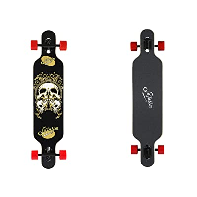 "sefulim 39""x9"" Complete Skull Skateboards Outdoor Street Concave Skateboard Long Board Gifts Double Kick Penny Skateboard for Kids Boys Beginners Girls : Sports & Outdoors"