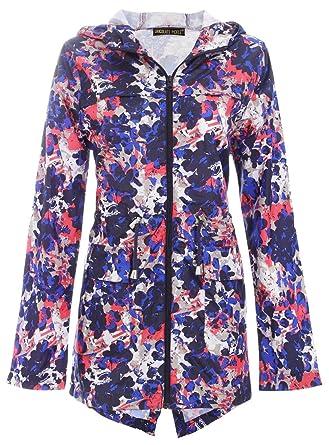 Chocolate Pickle New Womens Abstract Splash Zip Mac Raincoat Parka Hooded Jacket/4-20
