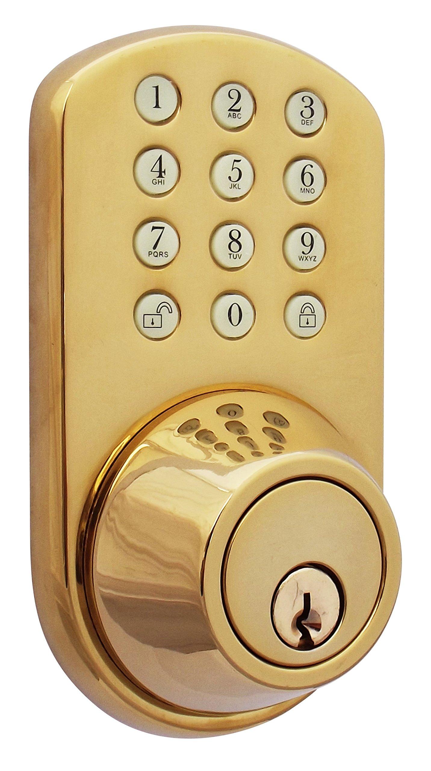MiLocks TF-02P Digital Deadbolt Door Lock with Electronic Keypad for Exterior Doors, Polished Brass