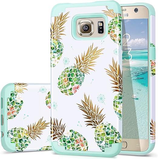 Fingic Coque 2 en 1 en silicone pour Samsung Galaxy S6 Motif ananas et pissenlit Vert