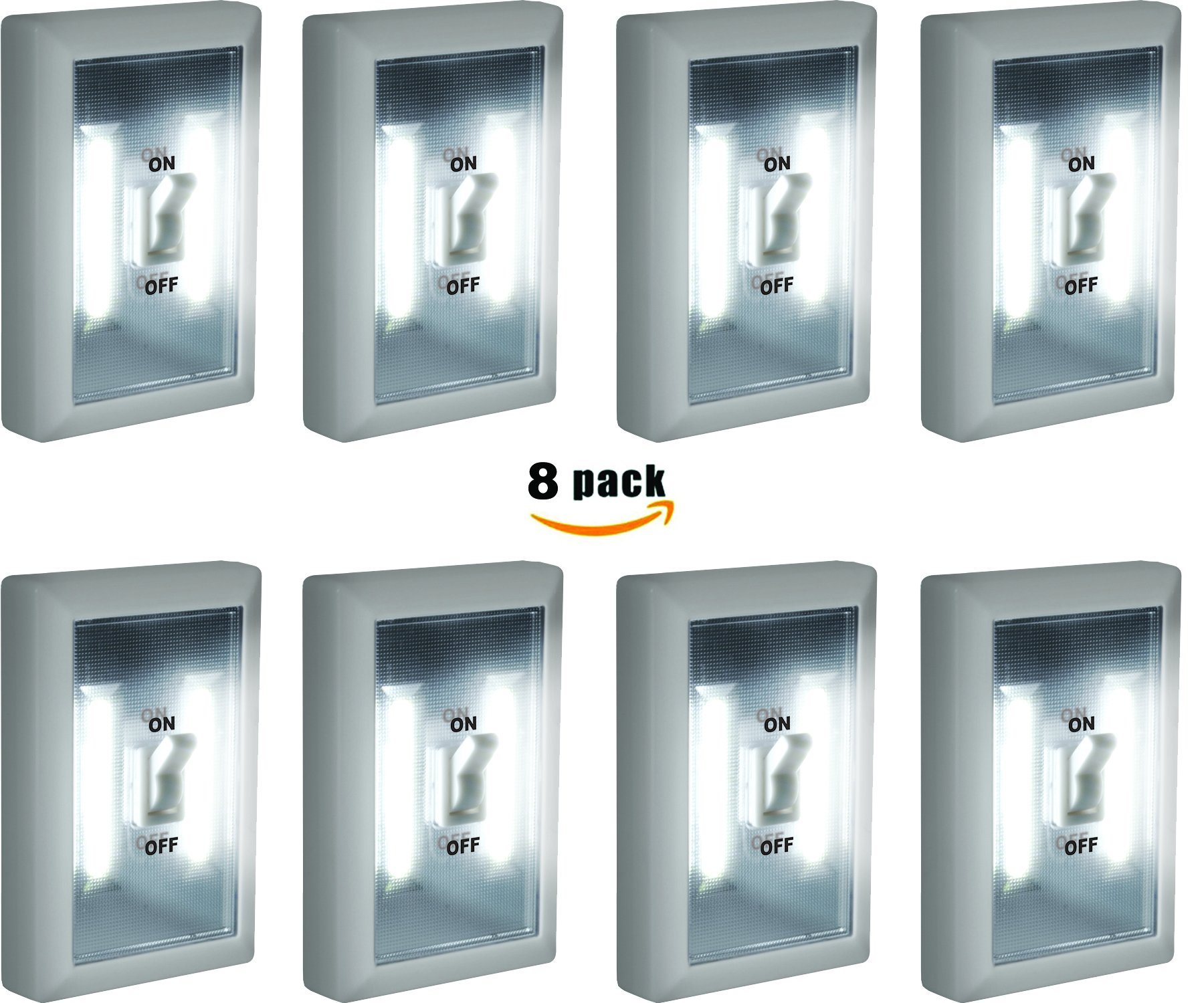 8-Pack - Super Bright Switch: Wireless Peel and Stick LED Lights - Tap Light, Touch, Night, Utility, Battery Operated, Under Cabinet, Shed, Kitchen, Garage, Basement