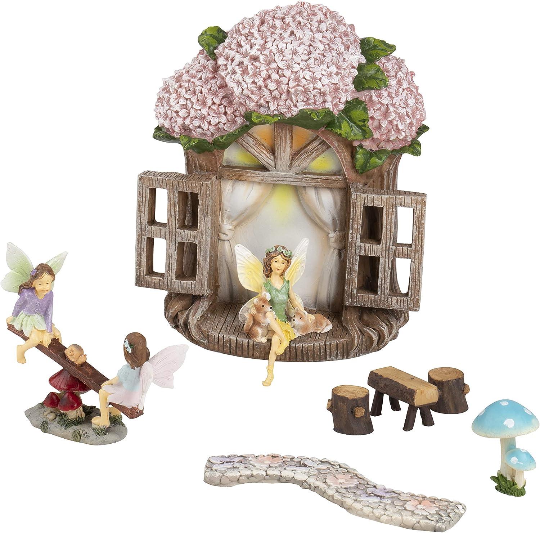 Juvale Miniature Fairy Garden Kit, Garden Decorations (7 Pieces)